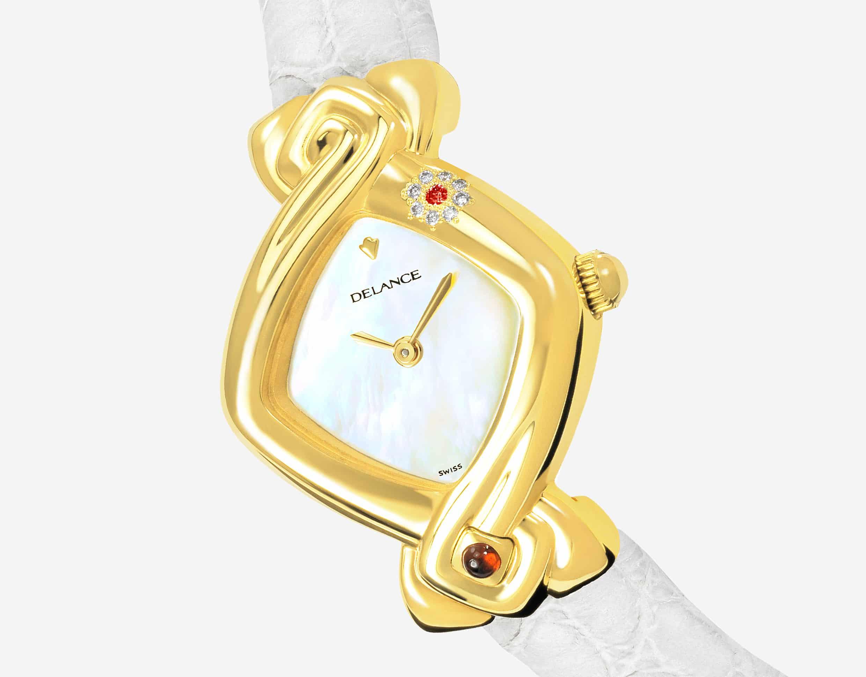 Elegante feminine Uhren für Damen: Padmâ: Golduhr mit 8 Diamanten und einem Rubin, Zifferblatt Perlmutter weiss, vergoldete Hände, Goldcabochon mit einem Rubin, Armband aus Alligator weiss