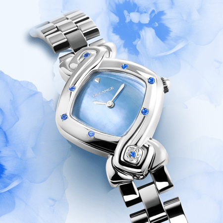 feminine watch - Ashta Laxmi: Steel watch set with 7 sapphires, blue mother-of-pearl dial, nickel-plated hands, steel cabochon with a sapphire, steel link strap