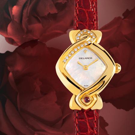 Damenuhren Eleganz für Frauen: Au cœur de la rose: Golduhr mit 17 Diamanten, Zifferblatt Perlmutt weiss, vergoldete Zeiger, Goldcabochon mit Rubin, Armband aus Alligatorleder rot