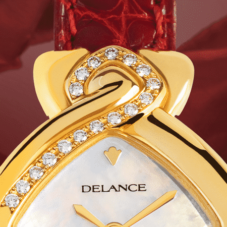 original womens watch - Au cœur de la rose: Gold watch set with 17 diamonds, white mother-of pearl dial, gold-plated hands, gold cabochon with a ruby, red wine alligator strap