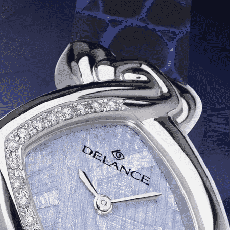 luxury watches birthday gift - Birthday: Steel watch set with 17 diamonds, special blue luz dial, nickel-plated hands, steel cabochon with a sapphire, blue alligator strap
