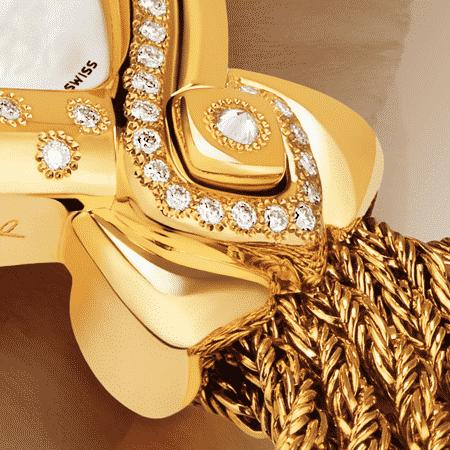 Damengolduhren mit Diamanten: Cybèle: Luxus Uhr aus Gold mit 60 Diamanten, Zifferblatt Perlmutter weiss, vergoldete Hände, Goldcabochon mit einem Diamanten, Goldarmband Cascade
