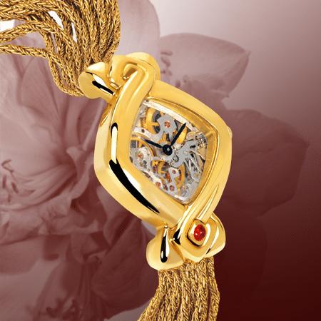 Armbanduhren mit Skelettuhr für Damen: Dentelle cascade dorée: mechanische Golduhr (Piguet Werkzeug), schwarze Hände, Goldcabochon mit einem Rubin, Goldarmband Cascade