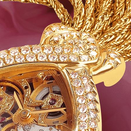 Armbanduhren mit Skelettuhr für Damen: Dentelle et Diamants roses: mechanische Golduhr mit 101 rosa Diamanten (Werkzeug Piguet), vergoldete Hände, Goldcabochon mit einem Princess rosa Diamant, Goldarmband Cascade