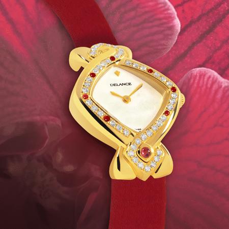 Dhana Laxmi : Montre en or sertie de 43 diamants et 7 rubis, cadran nacre blanche, aiguilles dorées, cabochon en or avec un rubis, bracelet en satin rouge