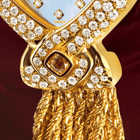 jewelry wrist watches for women - Diva blue: Gold watch set with 141 diamonds, pink mother-of pearl dial with 12 diamond hour indices, gold-plated hands, steel cabochon with a white opal, white gold cascade bracelet