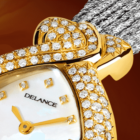 jewelry wrist watches for women - Diva: Gold watch set with 141 diamonds, white mother-of pearl dial with 12 diamond hour indices, gold-plated hands, steel cabochon with a white opal, white gold cascade bracelet