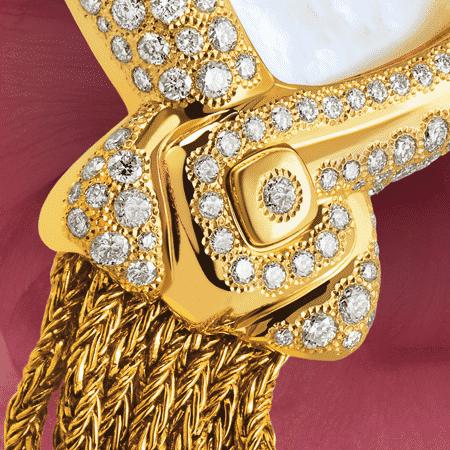 Damengolduhren mit Diamanten: Eclat de rire: Luxus Uhr aus Gold mit 242 Diamanten, Zifferblatt Perlmutter weiss, vergoldete Hände, Goldcabochon mit einem Diamanten Goldarmband Cascade