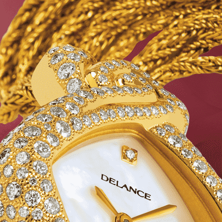 women's diamond watches - Eclat de rire: Gold watch set with 242 diamonds, white mother-of pearl dial, gold-plated hands, gold cabochon with a diamond, yellow gold cascade bracelet