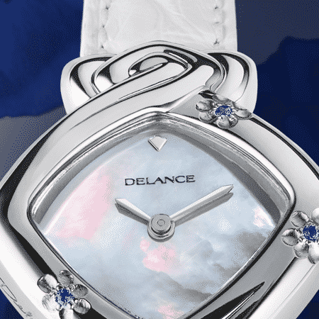 White watches for women - Edelweiss: Steel watch set with 3 blue sapphires in the form of a flower, white mother-of pearl dial, nickel-plated hands, steel cabochon with a sapphire, white alligator strap