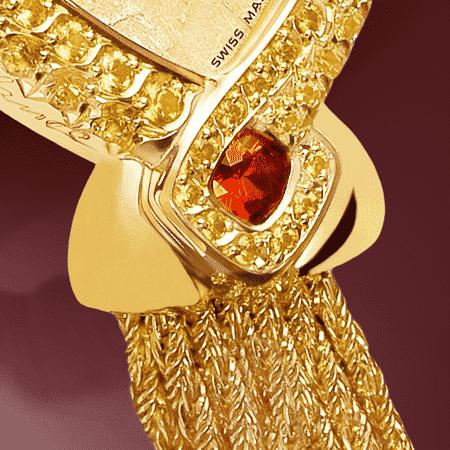 Schmuckuhr für besondere Frauen: Gaïa: Golduhr mit 70 Diamanten, Luz Zifferblatt jaune, vergoldete Hände, Spinelle, Armband aus Alligator rot