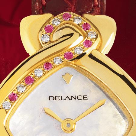 Elegante feminine Uhren für Damen: Griha Laxmi: Golduhr mit 9 Diamanten et 8 rosa Saphiren , Zifferblatt Perlmutter weiss, vergoldete Hände, Goldcabochon mit einem Rubin, Armband aus Alligator rot
