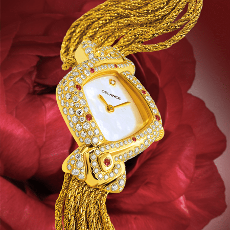 feminine watch - Mahalaxmi: Gold watch set with 235 diamonds and 6 rubies, white mother-of-pearl dial with a diamond index, gold-plated hands, gold cabochon with a ruby, gold cascade strap