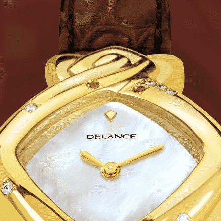 Armbanduhr für Frauen: My Mother's Watch: Golduhr mit 12 Diamanten et 5 Rubinen , Zifferblatt Perlmutter weiss, vergoldete Hände, Cabochon mit 3 Diamanten, Armband aus Alligator dunkel rot