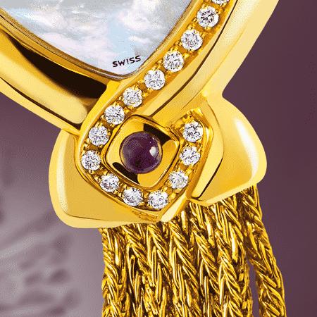 Uhren für Frauen Geburtstag : New Life Golduhr mit 32 Diamanten, Zifferblatt Perlmutter weiss, vergoldete Hände, Goldcabochon mit einer Amethyst, Goldarmband Cascade