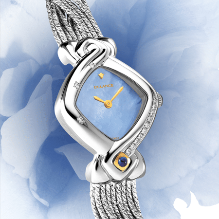 best watches for mom - Noces d'étain: Steel watch set with 13 diamonds, blue mother-of pearl dial, gold-plated hands, gold cabochon with a sapphire, silver cascade bracelet