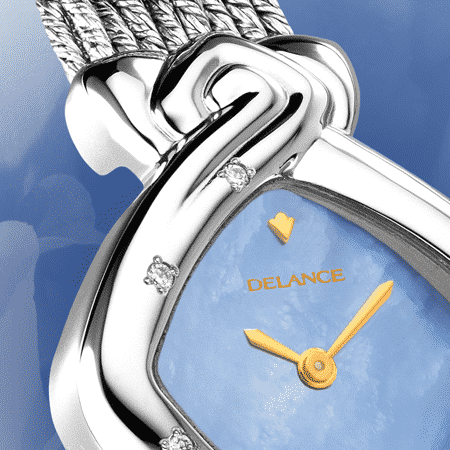 Armbanduhr für Frauen: Noces d'étain: Stahlduhr mit 13 Diamanten, Zifferblatt Perlmutter blau, vergoldete Hände, Goldcabochon mit einem Saphir, Silberarmband Cascade