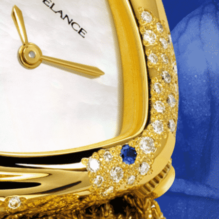 personalized watches for women - Aïda: Gold watch set with 64 diamonds and 2 sapphires, white mother-of pearl dial, gold-plated hands, gold cabochon with a sapphire, yellow gold cascade bracelet