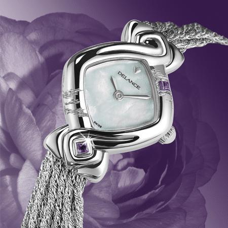 Besondere Uhr für besondere Frauen: Amethyst: Stahlduhr mit Amethyst, Zifferblatt Perlmutter weiss, vernickelte Hände, Stahlcabochon mit Amethyst, Armband aus Silber