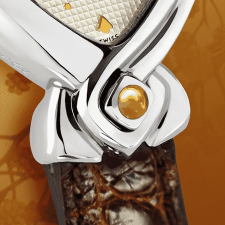 Originelle Armbanduhren für Frauen: Automn: Stahluhr, versilbertes Zifferblatt, vergoldete Hände, Stahlcabochon mit Zitrine, Armband aus Alligator brun