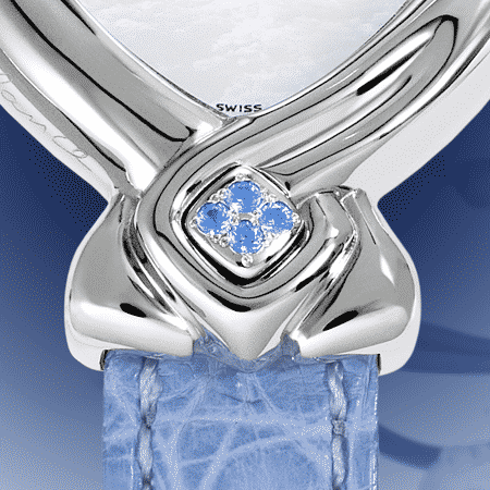 Geschenke zuer Hochzeit: Blue Ribbon: Stahlduhr mit 24 Saphiren , Zifferblatt Perlmutter weiss, vernickelte Hände, Stahlcabochon mit 4 Saphiren , Armband aus Alligator blau