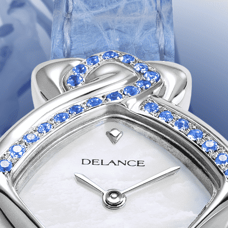 wedding watch - Blue Ribbon: Steel watch set with 24 sapphires, white mother-of pearl dial, nickel-plated hands, steel cabochon with 4 sapphires, blue alligator strap