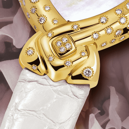 women's diamond watches - Esperanza: Gold watch set with 130 diamonds, white mother-of pearl dial, gold-plated hands, gold cabochon with 4 diamonds, white alligator strap