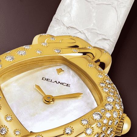 Damengolduhren mit Diamanten: Esperanza: Golduhr mit 130 Diamanten, Zifferblatt Perlmutter weiss, vergoldete Hände, Goldcabochon mit 4 Diamanten Armband aus Alligator weiss