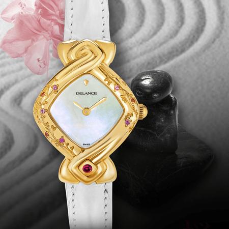 Miyuki or : Montre en or gravée et sertie de 8 saphirs roses, cadran nacre blanche, aiguilles dorées, cabochon rubis à 6h, bracelet en alligator blanc