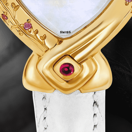 elegant feminine ladies watches - Miyuki: Gold watch engraved and set with 8 pink sapphires, white mother-of-pearl, gold-plated hands, ruby cabochon at 6 o'clock, white alligator strap.