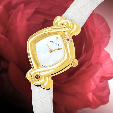 Padmâ, qui signifie lotus, fleur qui croît dans les marais, dans la vase est un symbole de féminité et de fertilité. Elle est aussi un mythe de pureté et de haute spiritualité car la fleur du lotus est sans taches. A six heures, le rubis symbolise l'amour, la force, l'énergie vitale de la femme qui porte cette montre.