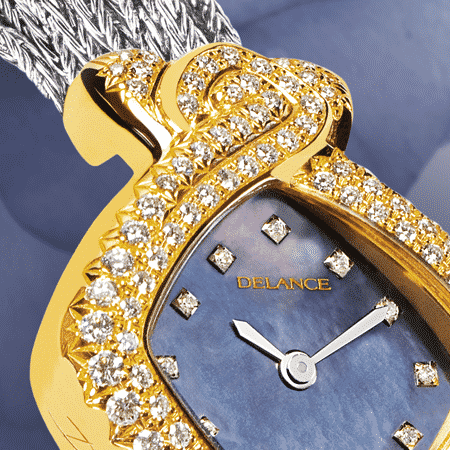 jewelry wrist watches for women - Princesse in blue: Gold watch set with 101 diamonds, blue mother-of pearl dial with 12 diamond hour indices, nickel-plated hands, steel cabochon with an hematit, white gold cascade bracelet