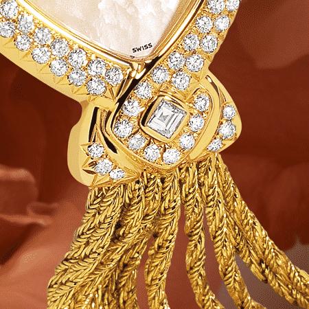 Schmuckuhr für besondere Frauen: Princesse: Golduhr mit 101 Diamanten, Zifferblatt Perlmutt weiss, vergoldete Zeiger, Goldcabochon mit einem Diamanten, Goldarmband Cascade