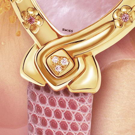 Elegant feminine ladies watches - Sakie: Gold watch engraved with 5 flower with 5 pink sapphire in the heart, pink mother-of-pearl dial, gold-plated hands, diamond cabochon at 6 o'clock, pink lizard strap.