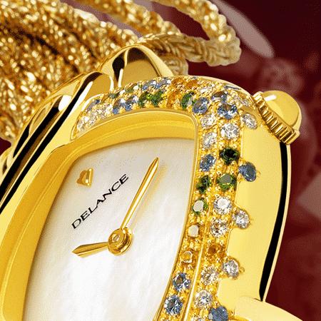 Damenuhren Eleganz für Frauen: Secret: Golduhr mit 69 Edelsteine, Zifferblatt Perlmutter weiss, vergoldete Hände, Goldcabochon mit Feueropale, Goldarmband Cascade