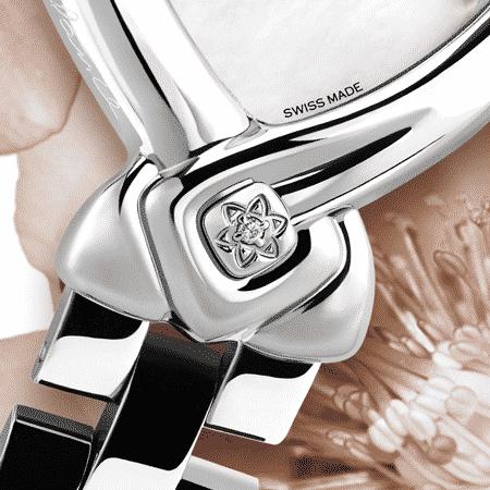 Die Uhr für die Braut : Star of the Day: Stahluhr, Luz Zifferblatt moon, vernickelte Hände, Stahlcabochon mit einem Diamanten Zifferblatt Perlmutter Armband aus Stahl