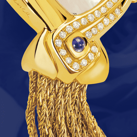 luxury watches birthday gift - Sweet Sixty: Gold watch set with 60 diamonds, white mother-of pearl dial, gold-plated hands, gold cabochon with a sapphire, yellow gold cascade bracelet