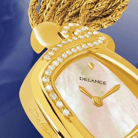 Uhren für Frauen Geburtstag Sweet Sixty: anniversaire Golduhr mit 60 Diamanten, Zifferblatt Perlmutter weiss, vergoldete Hände, Goldcabochon mit einem Saphir , Goldarmband Cascade