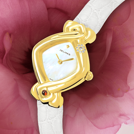 White watches for women - White Lotus: Gold watch set with 9 diamonds, special white luz dial, gold-plated hands, gold cabochon with a ruby, white alligator strap