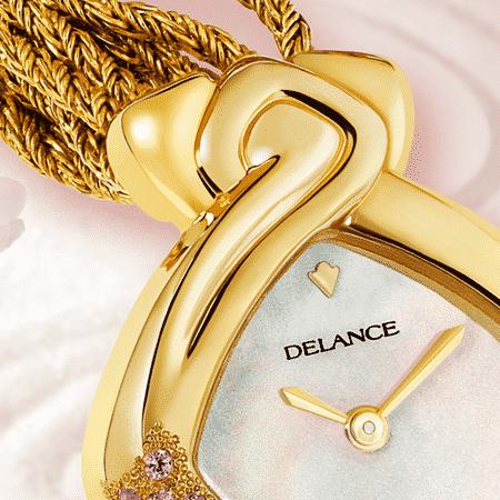 Elegante originelle Damen Uhr: Yuka: zarte gravierte Uhr für Frau aus Gold und mit 10 ros Saphiren