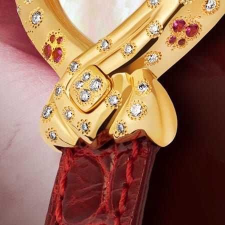 women's diamond watches - The Butterfly Effect: Gold watch set with 44 diamonds and 32 pink sapphires, white mother-of pearl dial, gold-plated hands, gold cabochon with 4 diamonds, red alligator strap
