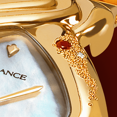 Personalized watches for women - Cometa: Gold watch engraved and set with a ruby, white mother-of pearl dial, gold-plated hands, gold cabochon with a ruby, yellow gold links bracelet