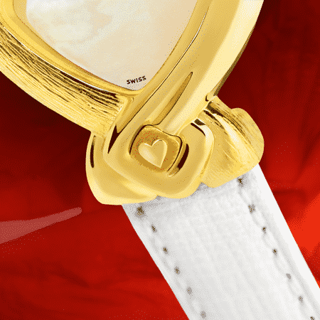 White watches for women - Paloma: Gold watch engraved and set with 8 diamonds and a ruby, white mother-of pearl dial, gold-plated hands, gold cabochon with a heart, white leather strap