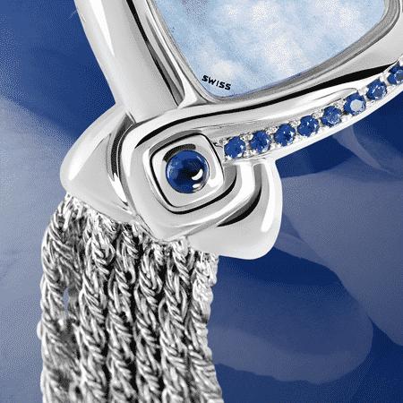 Geschenke zuer Hochzeit: Perfect Ten in blue: Stahlduhr mit 10 Saphiren , Zifferblatt Perlmutter blau, vernickelte Hände, Stahlcabochom mit einem Saphir , Silberarmband Cascade