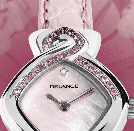 Romantische Armbanduhr für Frauen: Pink Ribbon: Wasserdichte Uhr für Frau mit 24 Saphiren, Zifferblatt Perlmutter weiss, vernickelte Hände, Stahlcabochon mit 4 rosa Saphiren, Armband aus Alligator