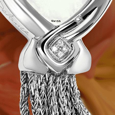 """Cette montre DELANCE"""" Réalisation"""", symbole du talent et de l'énergie créative féminine a été réalisée pour Madame Denise Filiatrault, lauréate du prix Réalisations 2006, attribué par le RFAQ, Réseau des Femmes d'Affaires du Québec. Née un 16 mai, sa couleur est le blanc, sa pierre le diamant, son chiffre le 4. Sa montre DELANCE, bijoux symbolique, lui rappelle à chaque instant que sa contribution artistique est reconnue par tous."""