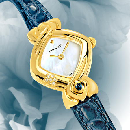 wedding watch - Hillary: Gold watch set with 7 diamonds, white mother-of pearl dial, gold-plated hands, gold cabochon with a sapphire, blue alligator strap