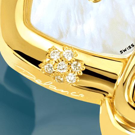 Geschenke zuer Hochzeit: Hillary: Golduhr mit 7 Diamanten, Zifferblatt Perlmutter weiss, vergoldete Hände, Goldcabochon mit einem Saphir , Armband aus Alligator blau