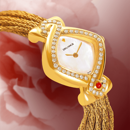 luxury wrist watches for women - Infinity gold cascade : Gold watch set with 50 diamonds, white mother-of pearl dial, gold-plated hands, gold cabochon with a ruby, yellow gold cascade bracelet