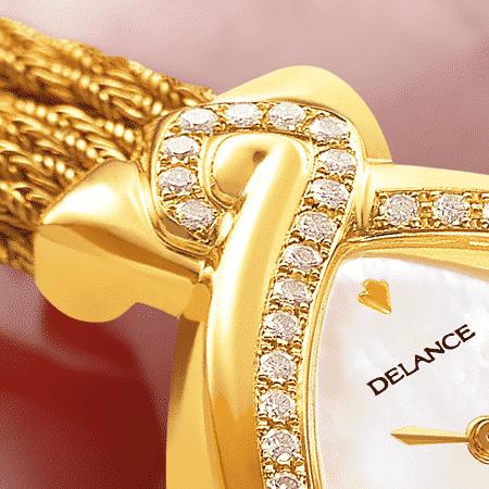 Besten Luxusuhren für die Frau: Infinity Gold cascade: Golduhr mit 50 Diamanten, Zifferblatt Perlmutter weiss, vergoldete Hände, Goldcabochon mit einem Rubin, Goldarmband Cascade